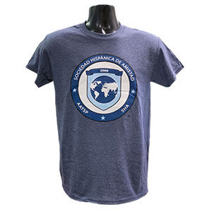 SHA FULL COLOR LOGO ON HEATHER NAVY T-SHIRT